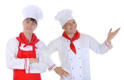 背景主厨查出的厨房白色 免版税库存照片