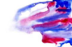 背景水彩桃红色和蓝色 库存图片
