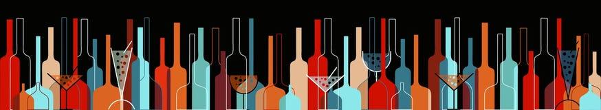 背景玻璃瓶无缝的酒 免版税图库摄影