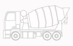 背景建筑挖掘机查出的机械对象白色 混凝土搅拌机 孩子的着色页 库存图片