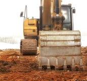 背景建筑挖掘机查出的机械对象白色 免版税库存图片