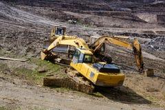 背景建筑挖掘机查出的机械对象白色 免版税库存照片