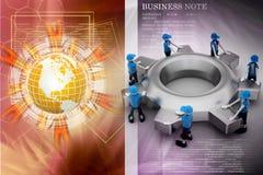 背景黑色五颜六色的概念玩偶小组工作 免版税库存图片