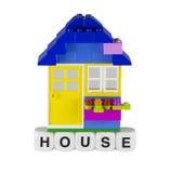 背景黑色儿童现有量房子玩具 免版税库存图片