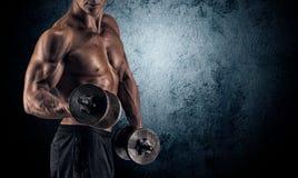 背景黑色哑铃供以人员肌肉 库存照片