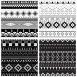 背景黑色收集几何模式无缝的集向量白色 免版税图库摄影