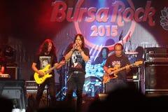 背景黑色火热的吉他音乐岩石 库存照片