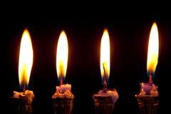 背景黑色蜡烛光明节 免版税库存照片