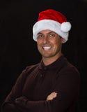 5背景黑色bou圣诞节逗人喜爱的帽子老纵向圣诞老人年 免版税库存图片