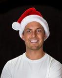 5背景黑色bou圣诞节逗人喜爱的帽子老纵向圣诞老人年 图库摄影