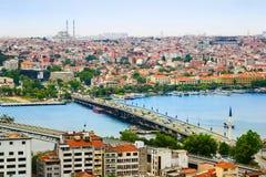 背景bosphorus galata伊斯坦布尔塔视图水 库存照片