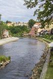 背景Ceske Krumlov,捷克都市风景视图  免版税库存照片