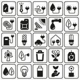 背景eco图标集合白色 免版税库存照片