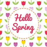 背景eps包括的春天向量 春天郁金香和圆的框架 向量 皇族释放例证