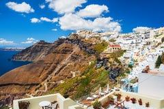 背景fira希腊自然santorini城镇视图 免版税图库摄影