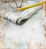 背景grunge报纸铅笔 库存图片