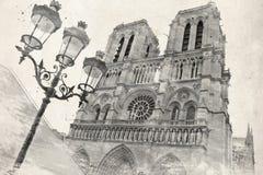 背景grunge巴黎视图葡萄酒 免版税库存图片