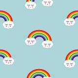 背景illustratin彩虹无缝的诉讼很好导航墙纸 与微笑的睡觉云彩和彩虹的无缝的样式孩子的 库存图片
