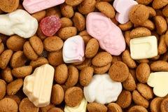 背景pepernoten和甜点Sinterklaas 免版税图库摄影