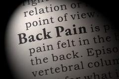 背部疼痛的定义 库存图片