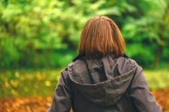 背面图偶然女性走在秋天公园 免版税图库摄影