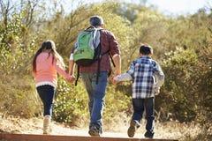 背面图父亲和儿童远足 免版税库存照片