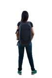 背面图,松弛年轻亚洲妇女身分 库存照片
