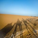 胎面补料骑马阴影在撒哈拉大沙漠 免版税库存照片