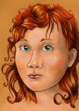 胖的红头发人女孩 免版税库存图片