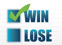 胜利与丢失与复选标记例证 免版税库存照片