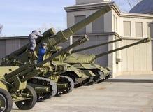 胜利公园 巨大爱国战争的军用设备样品  库存图片