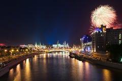 胜利天庆祝在莫斯科,俄罗斯 图库摄影