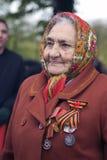 胜利天庆祝在莫斯科 高级妇女纵向 图库摄影