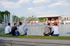 胜利天庆祝在莫斯科 免版税库存照片