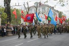 胜利天游行在塞瓦斯托波尔 库存照片