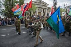 胜利天游行在塞瓦斯托波尔 图库摄影
