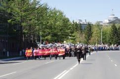 胜利天游行,是不朽的军团,鄂木斯克,俄罗斯 09 05 2014年 免版税库存图片