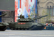 胜利天WWII的72th周年的庆祝 T-72B3是一辆第三代俄国主战坦克 库存照片