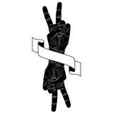 胜利手标志用两条手和丝带,胜利象征, det 免版税库存图片