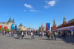 胜利日的庆祝在莫斯科。 免版税库存照片