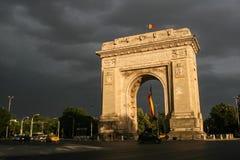 胜利曲拱在布加勒斯特,罗马尼亚 库存照片