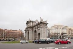 胜利曲拱在马德里 免版税库存照片