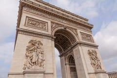 胜利曲拱,著名旅游业地标在巴黎法国 免版税库存图片