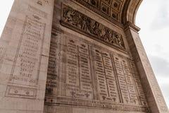 胜利曲拱,著名旅游业地标在巴黎法国 免版税图库摄影