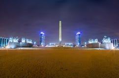 胜利正方形在晚上在俄罗斯 圣彼德堡 11月25日 2017年 库存照片