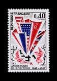 胜利的纪念邮票1945年 库存照片