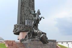 胜利纪念碑的片段在方形的优胜者的在Poklonnaya小山的胜利公园 库存图片