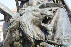 胜利雕象,狮子的细节,在圣马克& x27; s正方形,威尼斯,意大利 免版税库存图片
