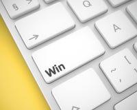 胜利-在白色键盘键盘的题字 3d 图库摄影