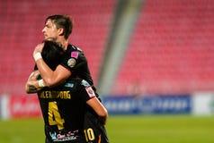 胜利Nakhonratchasima FC :2015年5月10日:在Rajamangala Nationa 库存照片